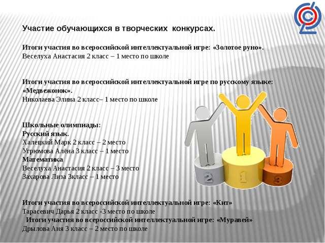 Участие обучающихся в творческих конкурсах.  Итоги участия во всероссийской...