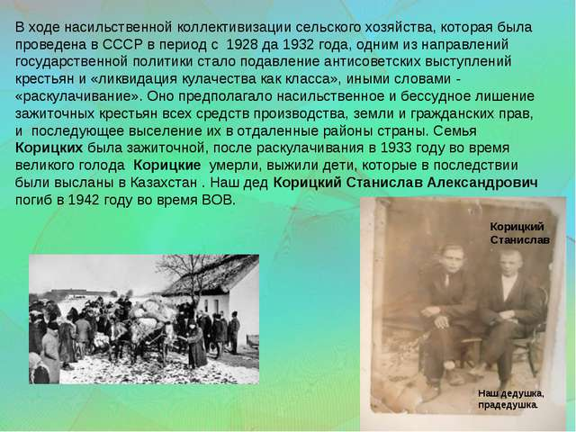 В ходе насильственной коллективизации сельского хозяйства, которая была прове...