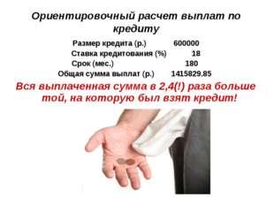 Ориентировочный расчет выплат по кредиту Размер кредита (р.) 600000 Ставка кр