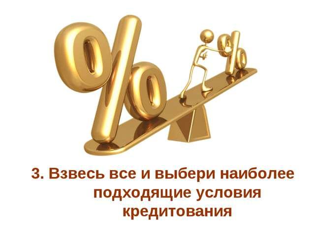 3. Взвесь все и выбери наиболее подходящие условия кредитования