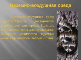 Наземно-воздушная среда Наземно-воздушная среда характеризуется достаточным к
