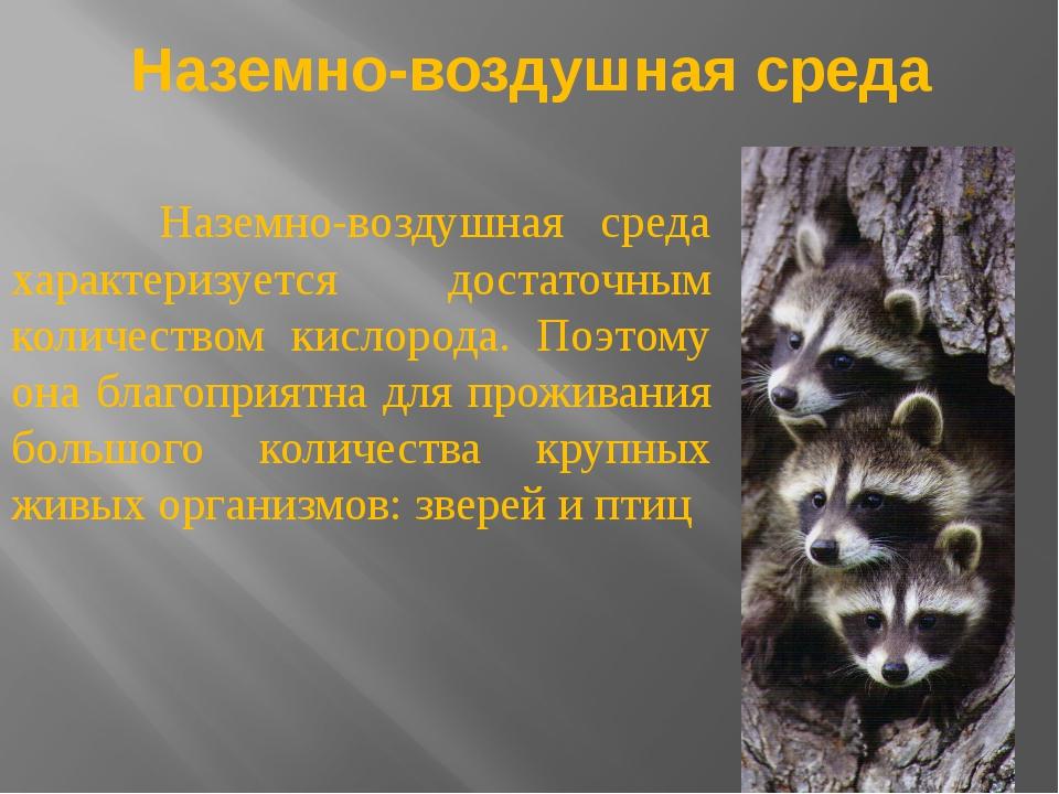 Наземно-воздушная среда Наземно-воздушная среда характеризуется достаточным к...
