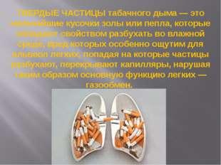 ТВЕРДЫЕ ЧАСТИЦЫ табачного дыма — это мельчайшие кусочки золы или пепла, котор