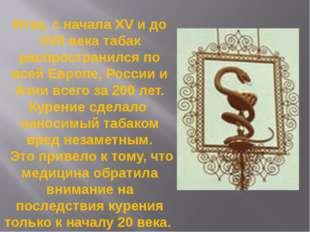 Итак, с начала XV и до XVII века табак распространился по всей Европе, России