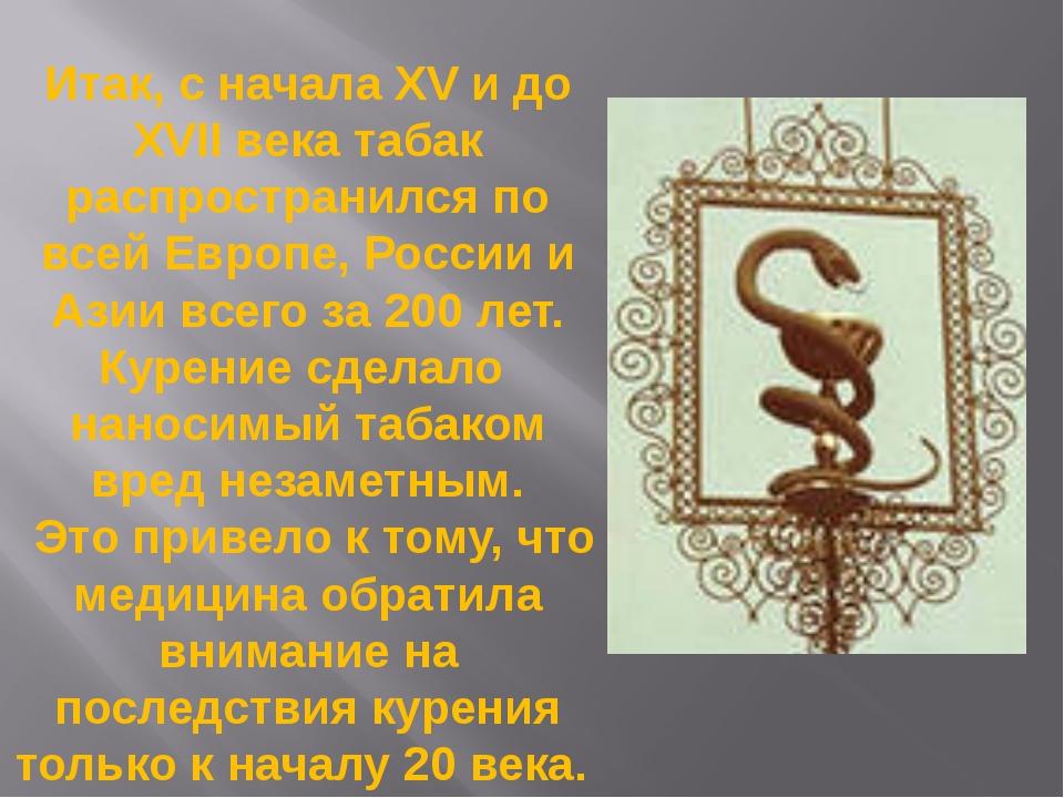 Итак, с начала XV и до XVII века табак распространился по всей Европе, России...