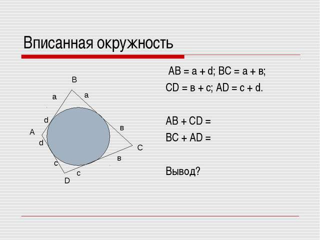 Вписанная окружность АВ = а + d; ВС = а + в; СD = в + с; АD = с + d. АВ + СD...
