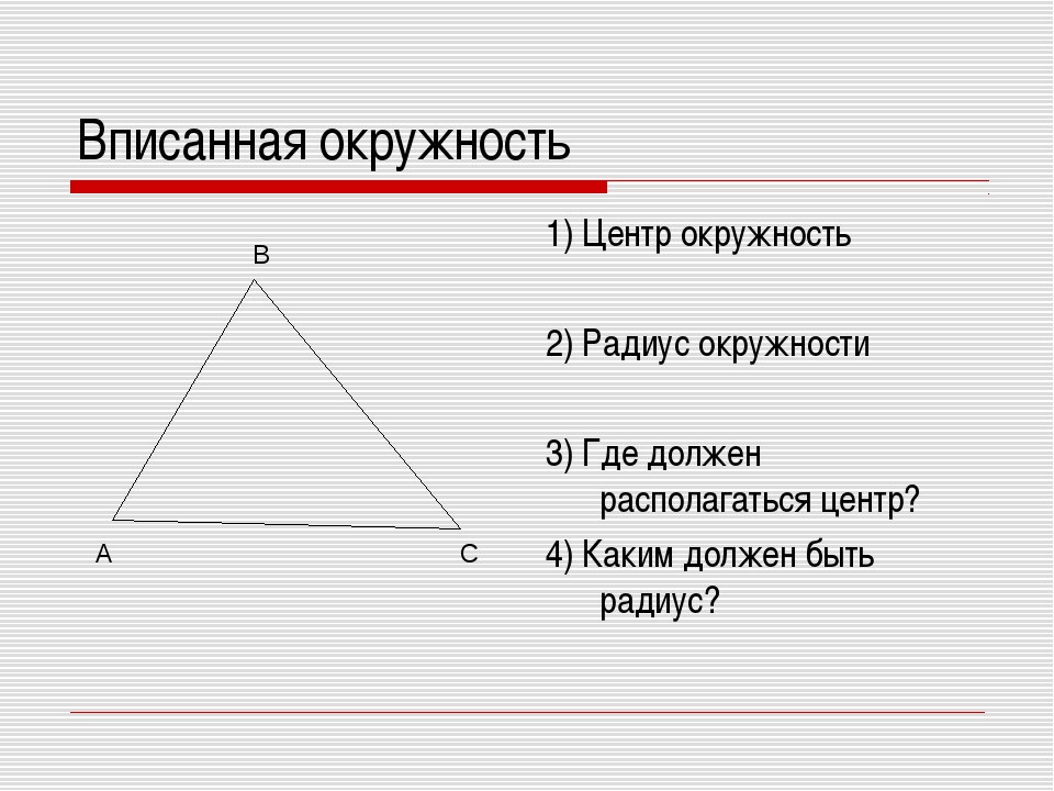 Вписанная окружность 1) Центр окружность 2) Радиус окружности 3) Где должен р...