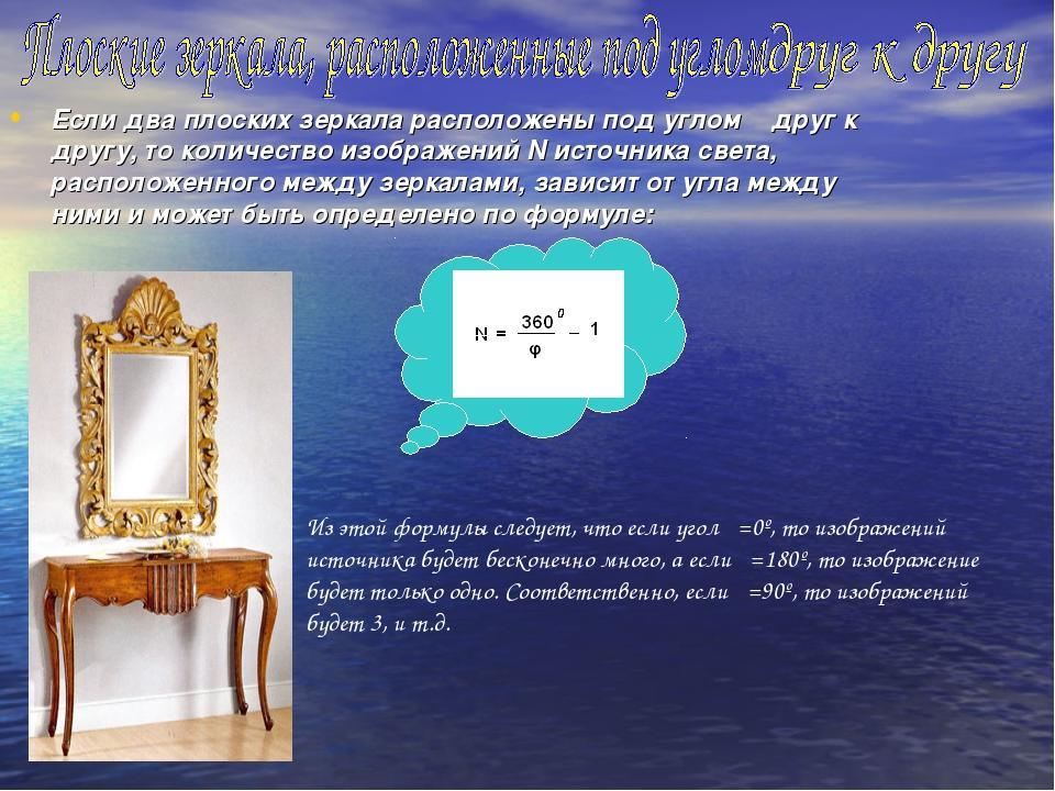 Если два плоских зеркала расположены под углом φ друг к другу, то количество...