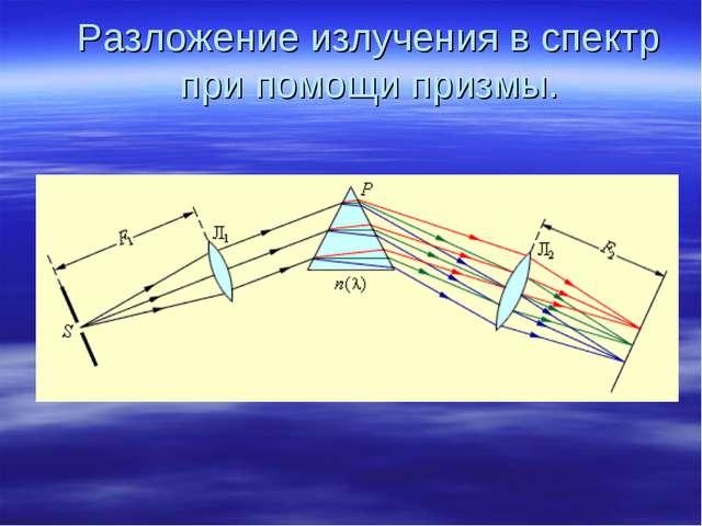 Разложение излучения в спектр при помощи призмы.