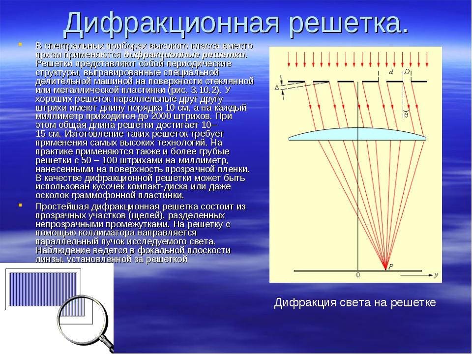 Дифракционная решетка. В спектральных приборах высокого класса вместо призм п...