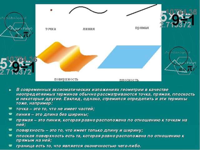 В современных аксиоматических изложениях геометрии в качестве неопределяемых...