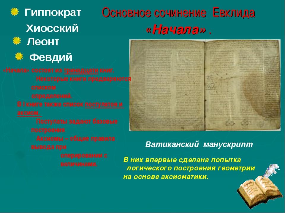 Основное сочинение Евклида «Начала» . Ватиканский манускрипт Гиппократ Хиосс...