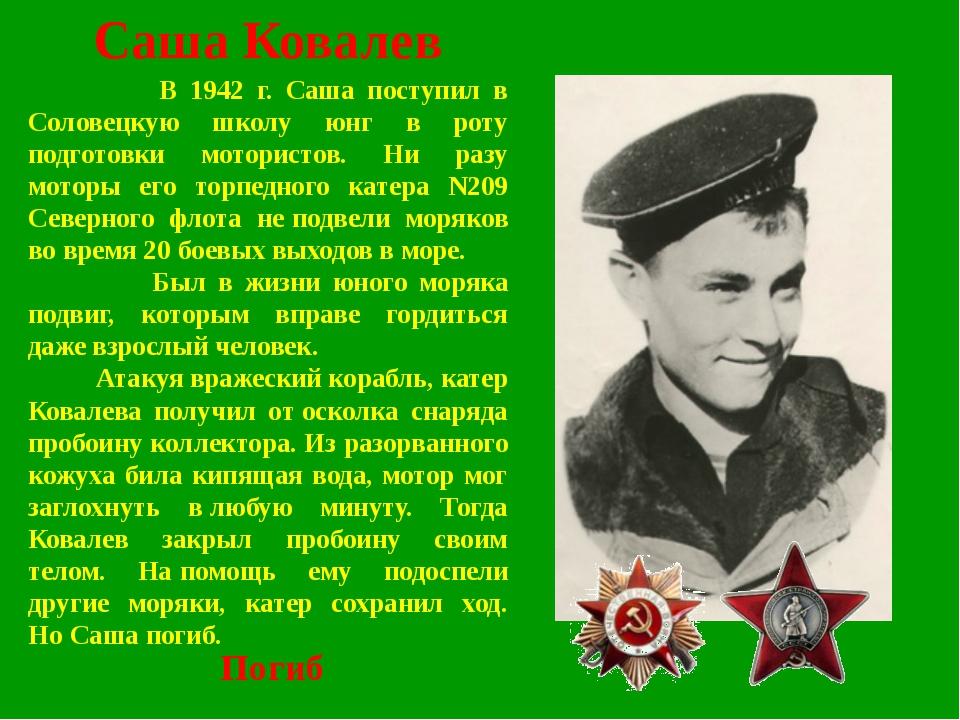 Саша Ковалев В 1942 г. Саша поступил в Соловецкую школу юнг в роту подготовки...