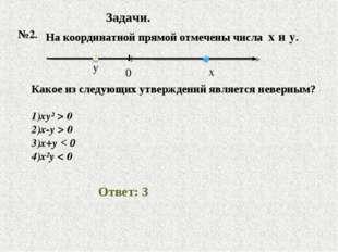 Задачи. №2. На координатной прямой отмечены числа x и y. Какое из следующих у