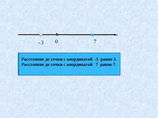 Расстояние до точки с координатой -3 равно 3. Расстояние до точки с координат