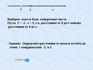 Выберем вместо букв конкретные числа. Пусть b = -2 , a = 5, т.к. расстояние о