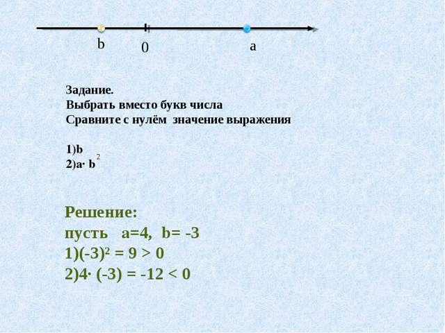 Задание. Выбрать вместо букв числа Сравните с нулём значение выражения b a· b...