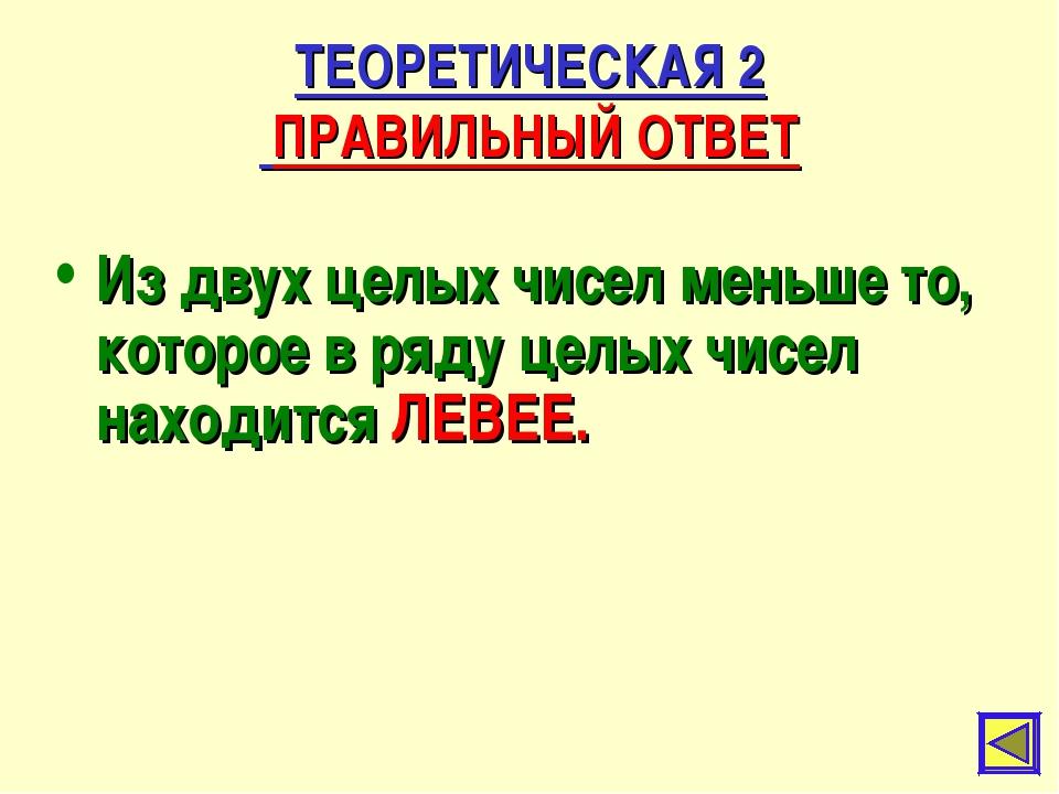 ТЕОРЕТИЧЕСКАЯ 2 ПРАВИЛЬНЫЙ ОТВЕТ Из двух целых чисел меньше то, которое в ряд...