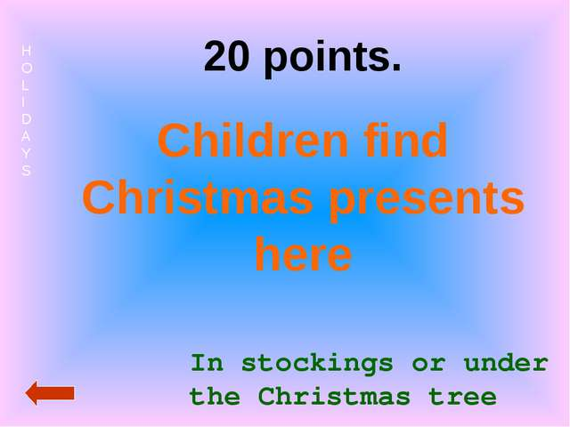 HOLIDAYS 20 points. Children find Christmas presents here In stockings or und...