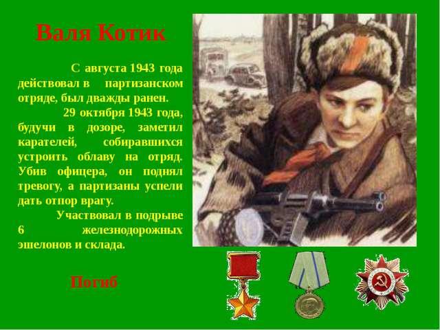 Валя Котик С августа1943 года действовалв партизанском отряде, был дважды р...