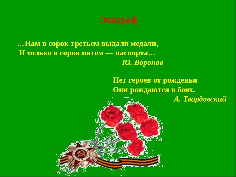 Эпиграф Нет героев от рожденья Они рождаются в боях. А. Твардовский …Нам в со...