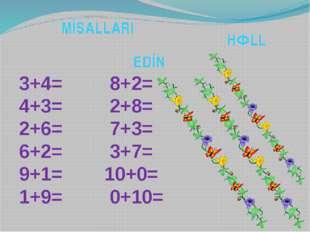 M İ S A L L A R I H Ə L L E D İ N 3+4= 8+2= 4+3= 2+8= 2+6= 7+3= 6+2= 3+7= 9+1
