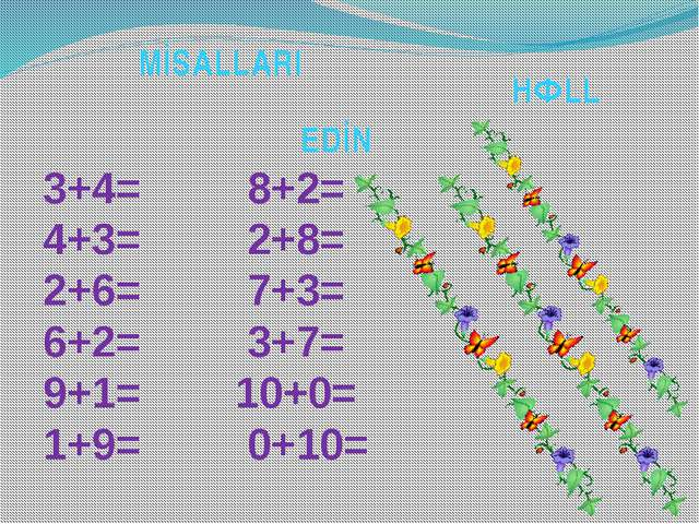 M İ S A L L A R I H Ə L L E D İ N 3+4= 8+2= 4+3= 2+8= 2+6= 7+3= 6+2= 3+7= 9+1...