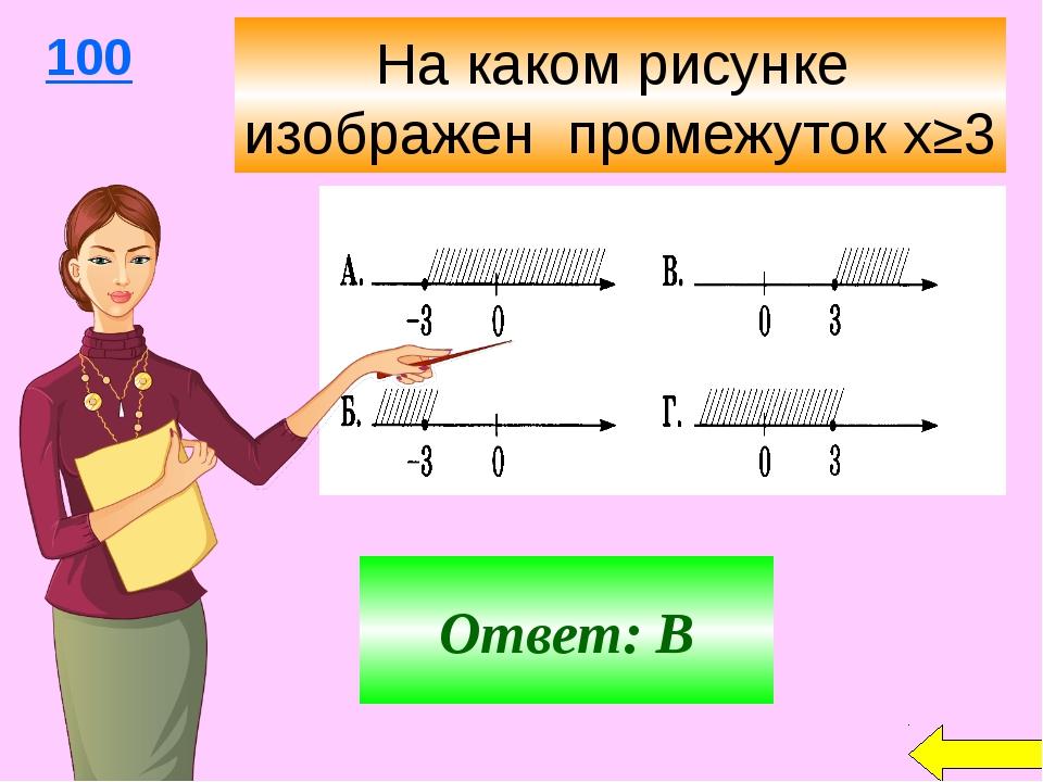 Ответ: В 100 На каком рисунке изображен промежуток х≥3