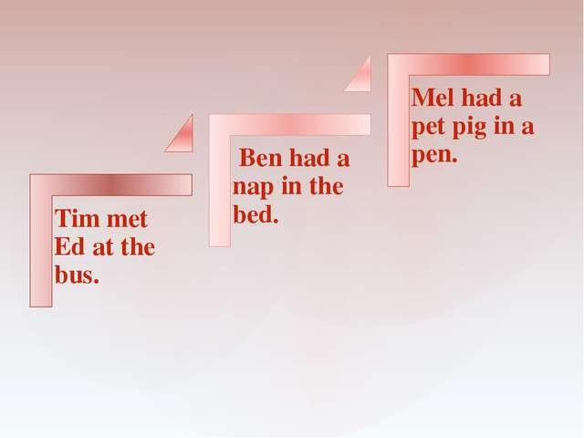 Tim met Ed at the bus. Ben had a nap in the bed. Mel had a pet pig in a pen.