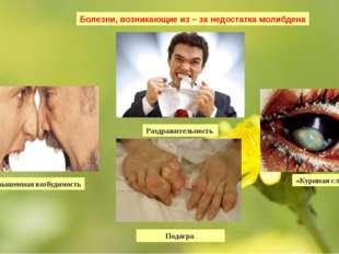 Болезни, возникающие из – за недостатка молибдена Повышенная возбудимость Раз