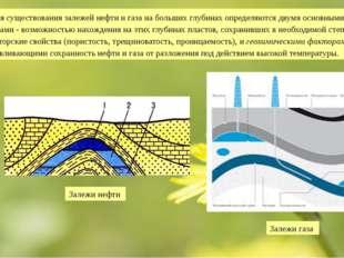 Условия существования залежей нефти и газа на больших глубинах определяются д