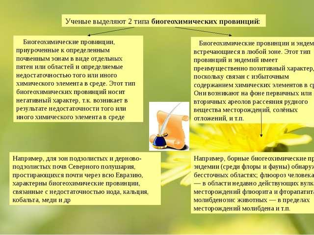 Ученые выделяют 2 типа биогеохимических провинций: Биогеохимические провинции...