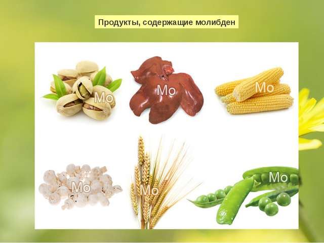 Продукты, содержащие молибден