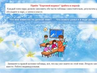 """Приём """"Бортовой журнал"""" (работа в парах): Каждый член пары должен заполнить о"""