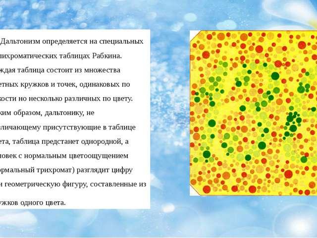 Дальтонизм определяется на специальных полихроматических таблицах Рабкина. К...