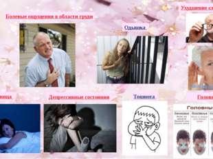 Болевые ощущения в области груди Ухудшение слуха и зрения Одышка Бессонница Д