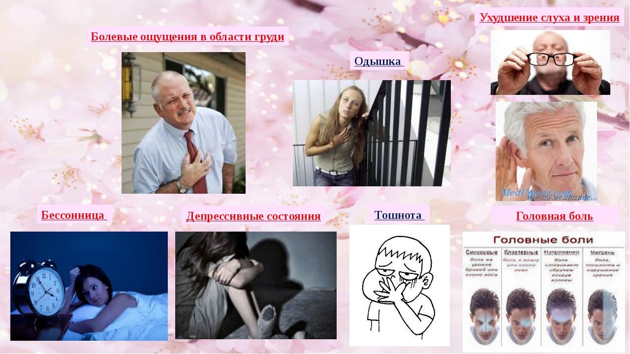 Болевые ощущения в области груди Ухудшение слуха и зрения Одышка Бессонница Д...