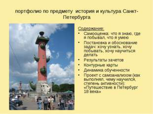 портфолио по предмету история и культура Санкт-Петербурга Содержание: Самооц