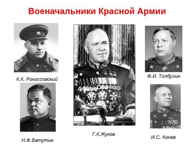 К.К. Рокоссовский Н.Ф.Ватутин Г.К.Жуков И.С. Конев Ф.И. Толбухин Военачальник...