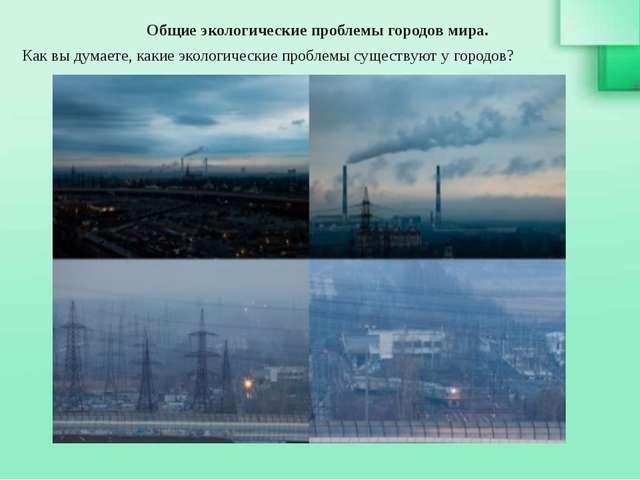 Общие экологические проблемы городов мира. Как вы думаете, какие экологическ...