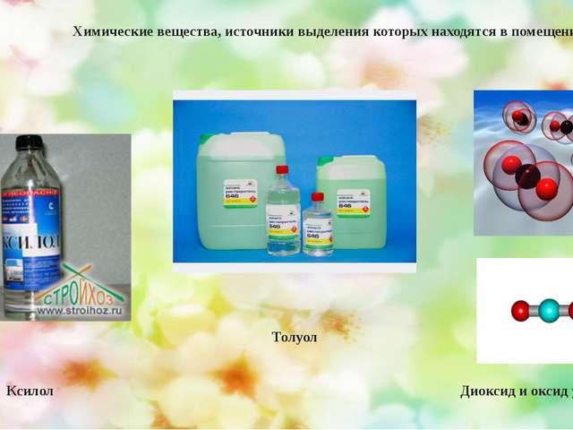 Диоксид и оксид углерода Толуол Ксилол Химические вещества, источники выделе...