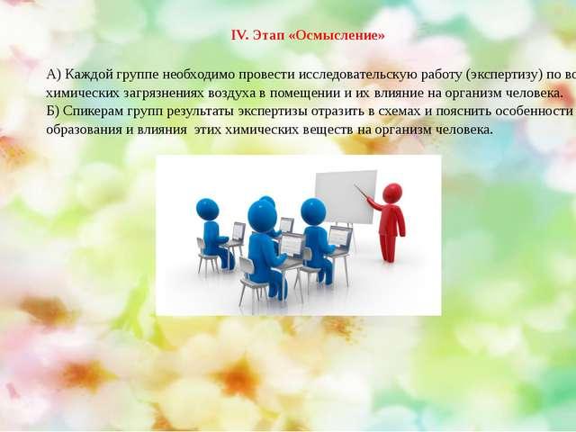 А) Каждой группе необходимо провести исследовательскую работу (экспертизу) по...