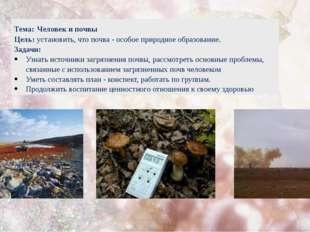 Тема: Человек и почвы Цель: установить, что почва - особое природное образова