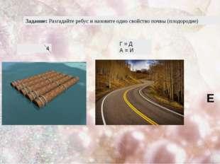 Задание: Разгадайте ребус и назовите одно свойство почвы (плодородие) 4 Г = Д
