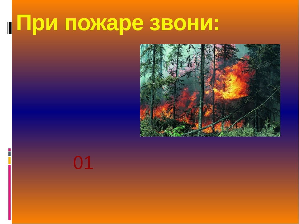 При пожаре звони: 01
