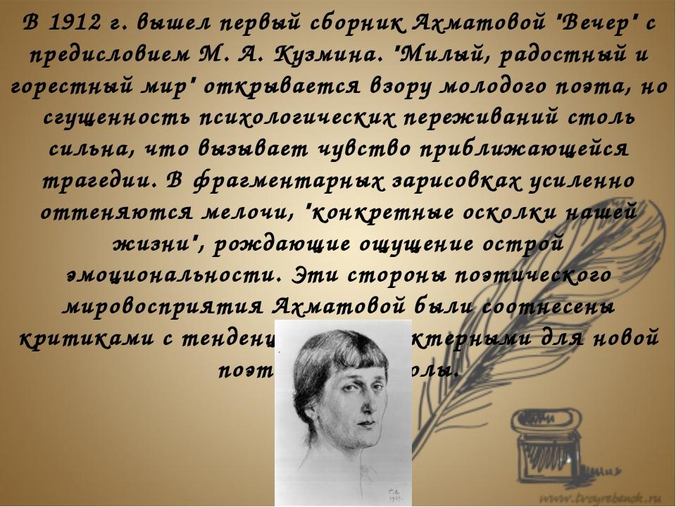 """В 1912 г. вышел первый сборник Ахматовой """"Вечер"""" с предисловием М. А. Кузмин..."""