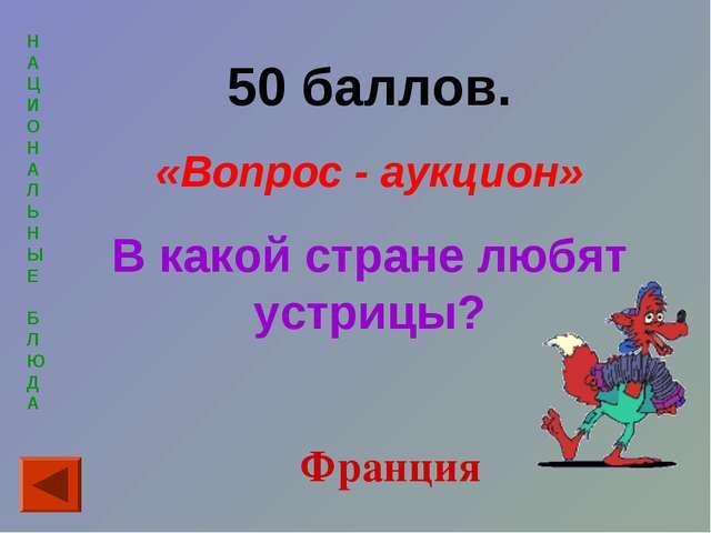 Н А Ц И О Н А Л Ь Н Ы Е Б Л Ю Д А 50 баллов. «Вопрос - аукцион» В какой стран...