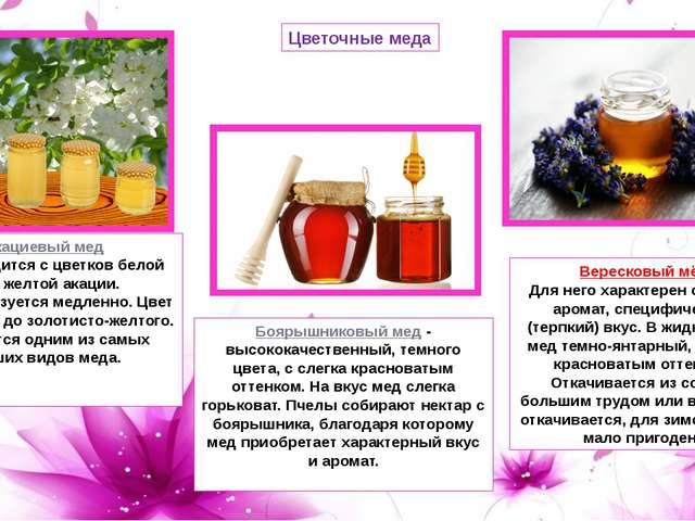 Цветочные меда Акациевый мед Производится с цветков белой или желтой акации....