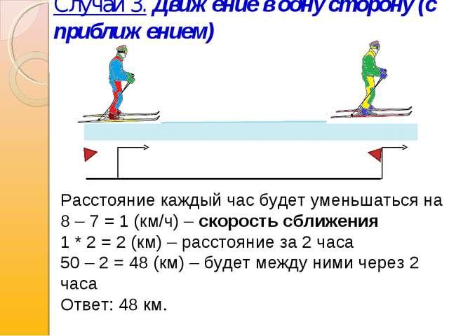 Случай 3. Движение в одну сторону (с приближением) Расстояние каждый час буде...