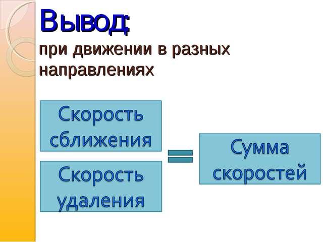 Вывод: при движении в разных направлениях